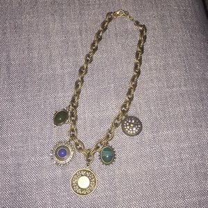 LOFT brushed gold statement necklace